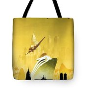 A Pleasant Trip To Germany - Airship, Aircraft, Ship - Retro Travel Poster - Vintage Poster Tote Bag