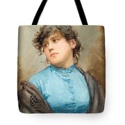 A Portrait Of A Young Woman In A Blue Dress Tote Bag