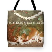 A Puppy For Christmas Quote Tote Bag