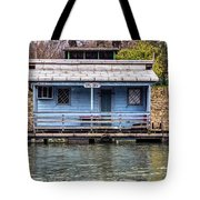 A Raft House Moored To The Shoreline Of Ada Ciganlija Islet Tote Bag