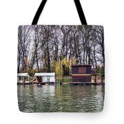 A Raft Houses Moored To The Shoreline Of Ada Medjica Islet Tote Bag