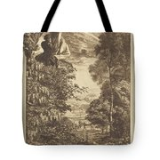 A Rainbow Landscape With Two Women Viewing It From Above Tote Bag