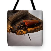 A Red Glowing Beetle Tote Bag