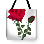 A Red Rose Blooms In Winter Tote Bag