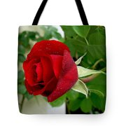 A Red Rose In The Dew Of Pearls Hours Tote Bag