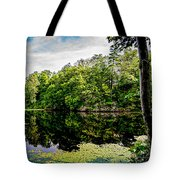 A Reflected Forest On A Lake With Lily Pads Tote Bag