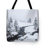A River And Winter Landscape In Austria Tote Bag
