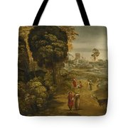 A River Landscape With Figures On A Country Road Tote Bag