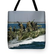 A Riverine Command Boat Conducts Tote Bag