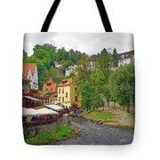 A Riverside Cafe Along The Vltava River In The Czech Republic Tote Bag