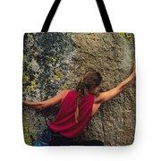 A Rock Climber On A Boulder Tote Bag