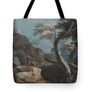 A Rocky Wooded Landscape With Three Peasants Tote Bag