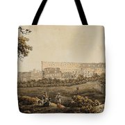A Roman Landscape With The Colosseum And Figural Staffage Tote Bag