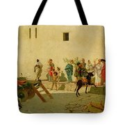 A Roman Street Scene With Musicians And A Performing Monkey Tote Bag