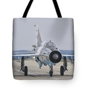 A Romanian Air Force Mig-21c Taxiing Tote Bag