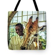 A Rothchild's Giraffe Munching Horse Pellets Through An Open Window Tote Bag
