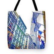 A Row Of Flags In The City Of New York 1 Tote Bag