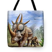 A Rubeosaurus And His Offspring Tote Bag