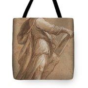 A Saint Holding A Book Tote Bag