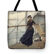 A Scottish Lady On A Boat Arriving In New York Henry Bacon Tote Bag