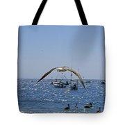 A Seagulll In-flight At Playa Manzanillo Tote Bag