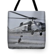 A Search And Rescue Swimmer Jumps Tote Bag