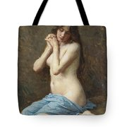 A Seated Nude With A Blue Drape Tote Bag
