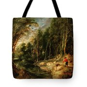 A Shepherd With His Flock In A Woody Landscape Tote Bag
