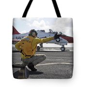A Shooter Launches A T-45 Goshawk Tote Bag