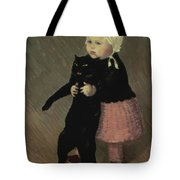 A Small Girl With A Cat Tote Bag