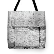 A Small Part Of The Wailing Wall In Black And White Tote Bag