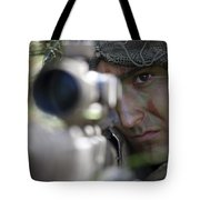 A Sniper Sights In On A Target Tote Bag by Stocktrek Images