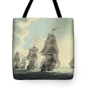 A Squadron Of The Royal Navy Running Down The Channel And An East Indiaman Preparing To Sail Tote Bag