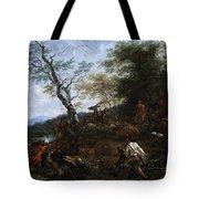 A Stag Hunt Nicolaes Claes Pietersz Berchem Tote Bag