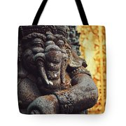 A Statue Of A Intricately Designed Holy Hindu Elephant Ganesha In A Sacred Temple In Bali, Indonesia Tote Bag