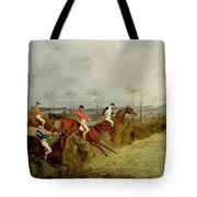 A Steeplechase - Taking A Hedge And Ditch  Tote Bag