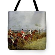 A Steeplechase - Taking A Hedge And Ditch Henry Thomas Alken Tote Bag