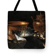 A Still Life Of Fish With Copper Pans And A Cat  Tote Bag