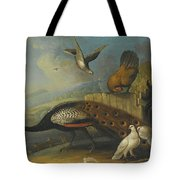 A Still Life With A Peacock, Pigeons And Chickens In A River Landscape Tote Bag