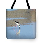 A Stilt Drinking Its Reflection Tote Bag
