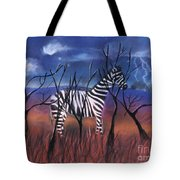 A Stormy Night For A Zebra  Tote Bag