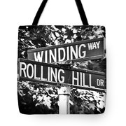 Wi - A Street Sign Named Winding Way And Rolling Hill Tote Bag