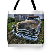 A Stylized Wide Angle Look At An Old Rusty Cadillac By A Cornfield Tote Bag