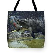 A Suchomimus Snags A Shark From A Lush Tote Bag by Walter Myers