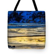 A Sunset In A River Of Ice Tote Bag