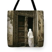 A Swahili Woman Enters A Building Tote Bag