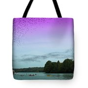 A Swarm Of Bats Fly Out From Underneath The Ann Richards Congress Avenue Bridge At Sundown Tote Bag