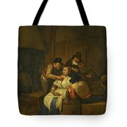 A Tavern Interior With Two Peasants Making Advances On A Maid With Figures Making Music Beyond Tote Bag