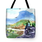 A Temple With A Mountain And Fields In The Background Tote Bag