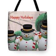A Three Snowman Holiday Tote Bag